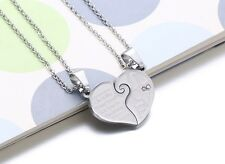 Hers and His Stainless Steel Heart  I Love You Men Women Couple Pendant Necklace