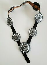 Tony Lama Leather Concho Belt Swarovski Crystals Western Bling Black 35-39
