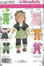 """Simplicity fits 18"""" Doll Clothes Pattern 2458 7 Designs New Designed by Teri"""