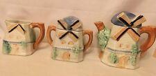 vintage windmill cottage ware teapot, sugar w/ lid, & creamer