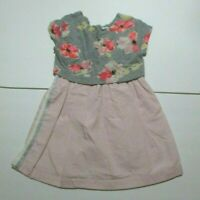 GIRLS BABY GAP GRAY & PINK NEON FLORAL DRESS SIZE 4 YEAR 4T