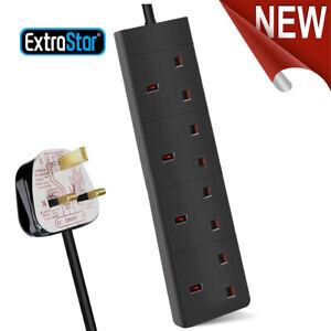 4 Way Gang Extension Trailing Lead Black Multi Plug Power Cable 1m  2m  3m  5m