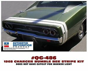 GE-QG-486 1968 DODGE CHARGER - BUMBLE BEE REAR STRIPE - DECAL - LICENSED