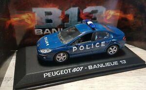 RARE PEUGEOT 407 BANLIEUE 13 POLICE GENDARMERIE  ECHELLE 1/43 NOREV