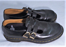 Dr Martens Black Leather Double Monk Strap Mary Janes Flats Comfort 10 W EU 42