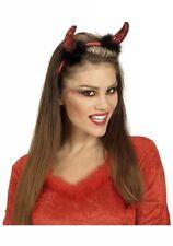 RED DEVIL HORNS HEADBAND Halloween Ladies Girls Fancy Dress Accessory Sequin