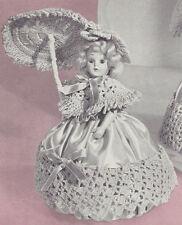 "Vintage Crochet PATTERN to make Doll Pin Cushion Dress Shawl Hat Umbrella 8"" Dor"