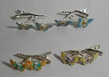 Lot of 4 Animated Butterfly with Rhinestone & Glitter Alligator Hair Clips New