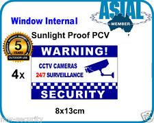 4 Window Internal Weatherproof PVC Sticker CCTV Camera Surveillance Warning Sign