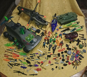 HUGE Gi joe 3 3/4 action figures lot Vehicles Tank helicopter almost 10 pounds!