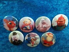 """1"""" pinback buttons inspired  by """"Rudolph the Red-Nosed Reindeer"""""""