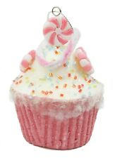 Pink White Peppermint Styrofoam Cupcake Christmas Ornament Holiday Decoration