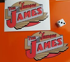 The Famous James Motorcycle Stickers x 2 Vintage Decals