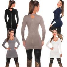 Damen Long Pullover Pulli Feinstrick Sweater Reißverschluss Cut out Kleid 34 36