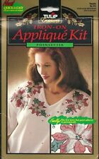 Tulip Treasures - Iron on Applique Kit -  Adhesive Backed Lame - Poinsettia