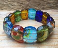 Pretty Stretch Glass Panel Bracelet/Rainbow Colours/Foil/Hippy/Boho/Cuff/Art