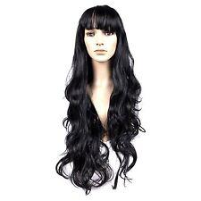 Adulte noir long ondulé déguisement cosplay perruque avec frange