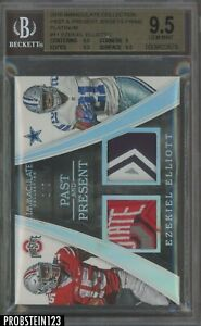 2016 Immaculate Platinum Ezekiel Elliott RC Rookie Dual Logo Patch 1/2 BGS 9.5