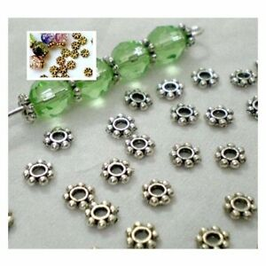 200PCS Antique Silver Gold Daisy Beads Spacer Alloy Beads Cap Jewelry Craft 4mm