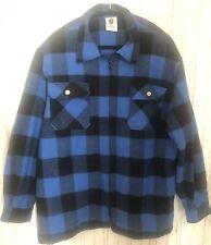 Rothco Blue Black Buffalo Plaid 2X-Lg Heavyweight Flannel Shirt Jacket Zip Front