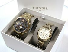 New FOSSIL BQ2145SET Gold Tone Grant Stainless Steel - Men Women Couple Set