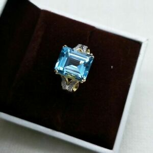 NATURAL GREAT BLUE TOPAZ RING IN STERLING SILVER, GOLD PLATED FINE YUBLZ45