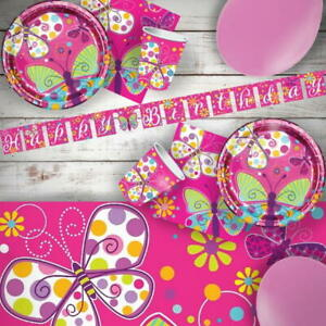 Butterfly Sparkle & Flowers Party Tableware, Decorations & Balloons