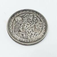 1893 Morgan Dollar Hobo Nickel Coin skeleton dance woman