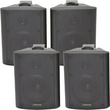 "4x 4"" 2 Way Stereo Speakers *70W 8Ohm* Black Wall Mounted Background Music Hi-Fi"