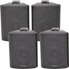 "4x 4"" 2 Way Stereo Speakers *70W 8Ohm* Black Wall Mounted Background Music Hi-Fi"