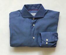 Eton Men's Cotton Prussian Blue Slim Fit Dress Shirt Size 15 38