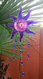 💜Purple sun catcher windchime stained glass hanging mobile home garden window