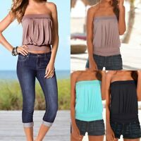Women's Strapless Bandeau Boob Tube Tops Ladies Casual Solid Sleeveless Blouse