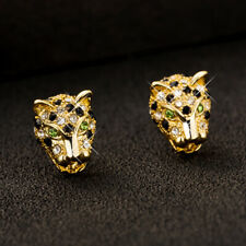 Hot Women Yellow Gold Filled Black Green Crystal Punk Leopard Head Stud Earrings