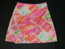 Lilly Pulitzer Wrap Skirt Women SZ 0 Reversible Bella Multi Worth Patch Giraffe