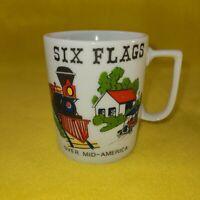 Vintage Six Flags Over Mid America Coffee Mug Cup Japan Ceramic Train, Car