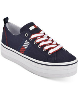 New Tommy Hilfiger brinks lace up sneakers dark navy canvas platform fabric navy