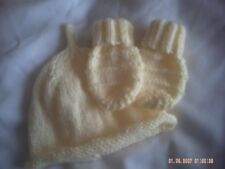 Hand Knitted Baby's Yellow Hat And Mittens Size 0-6 Months.