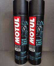 2 x MOTUL WASH & WAX E9 400 ml spray lavaggio a secco per motocicletta e
