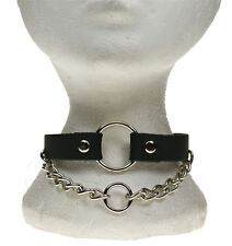 Gothic Punk 1 Row Hanging chain with Small Ring Centre Leather Neckband NB279