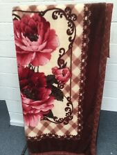 Brown Red Beige Faux Fur Fleece Throw 185 x 215cm Exc Con
