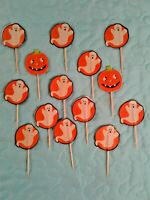 14 Vintage Halloween Wooden Toothpicks 12 Ghosts, 2 Pumpkins / Jack o Lantern