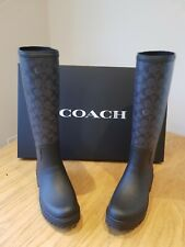 COACH RAIN BOOTS WELLIES BRAND NEW IN BOX STUNNING LOOK AND ON TREND