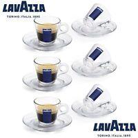 LAVAZZA 6 TAZZINE PER CAFFE ESPRESSO IN VETRO CON PIATTINI OMAGGIO