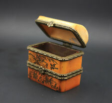 OLD CHINESE ANTIQUES BONE DOUBLE-DECK SMALL BOX CASKET JEWEL CASE