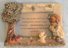 """Resin 3D Picture Frame Photo 3"""" X 5"""" Bible Colossians 3:16 Girl Child Bunny Bee"""