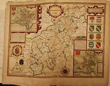 1676 Very Rare Map of Northamptonshire By John Speed issued by Bassett and Fleet