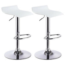 2 PC Bar Stool Swivel Adjustable PU Leather Barstools Bistro Pub Chair White New
