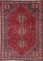 Antique Geometric Tribal Qashqai Persian Oriental Hand-Knotted 7x10 Red Area Rug