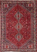 Antique Geometric Tribal Abadeh Oriental Hand-Knotted 7x10 Red Area Rug